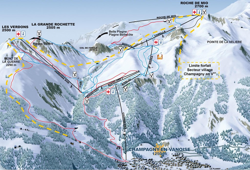 la plagne ski area and champagny location